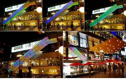 ショッピングセンター屋外エスカレーターLED照明