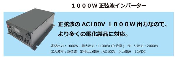 1000W 正弦波インバーター
